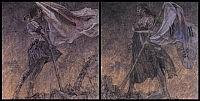 《美しい旗(戦争画RETURNS)》1995襖、蝶番、木炭、大和のりをメディウムにした自家製絵具、アクリル絵具(二曲一双屏風) 各169×169cm 撮影:宮島径 高橋コレクション蔵(寄託:東京都現代美術館)© AIDA Makoto Courtesy Mizuma Art Galleryの画像